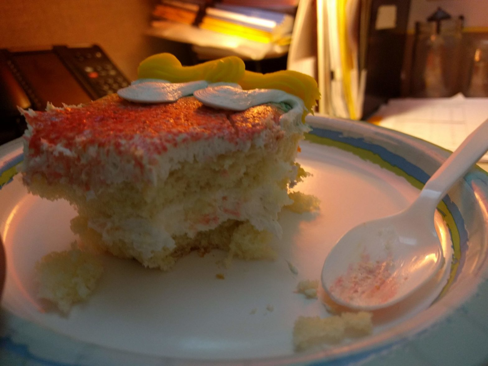 slice of cake on paper plate